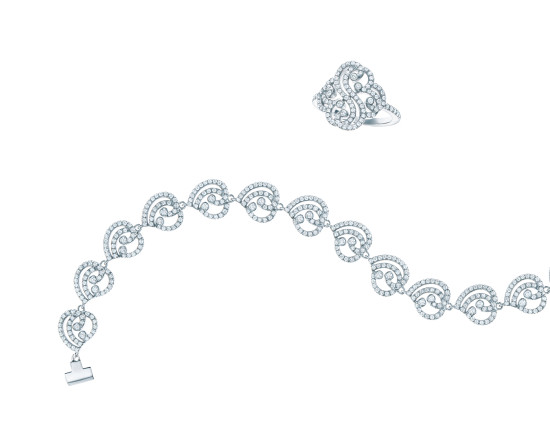 Tiffany Enchant heart line bracelet and double heart ring