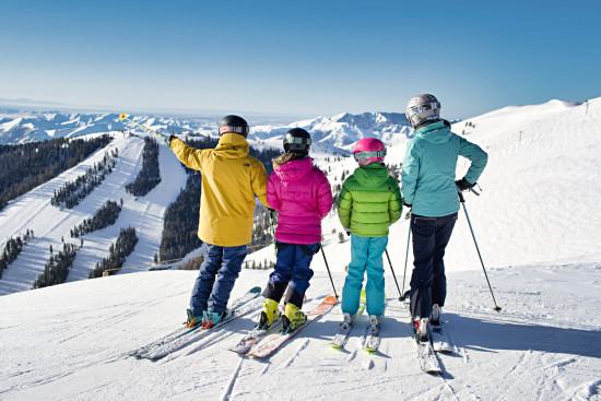Date: March 2018 Photo Credit: Courtesy Sun Valley Resort Photographer: © Hillary Maybery Photo Caption: Family ski day on Bald Mountain!